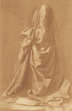 Леонардо да Винчи. Рисование драпировки. Лувр, Париж.